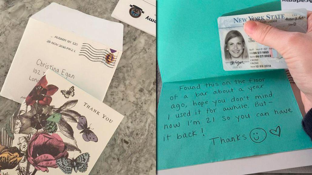 Una joven perdió su carnet y lo recuperó después de un año.