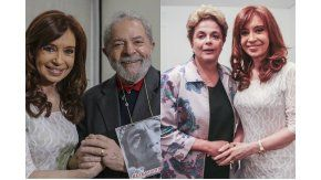 Cristina, Lula y Dila en Brasil