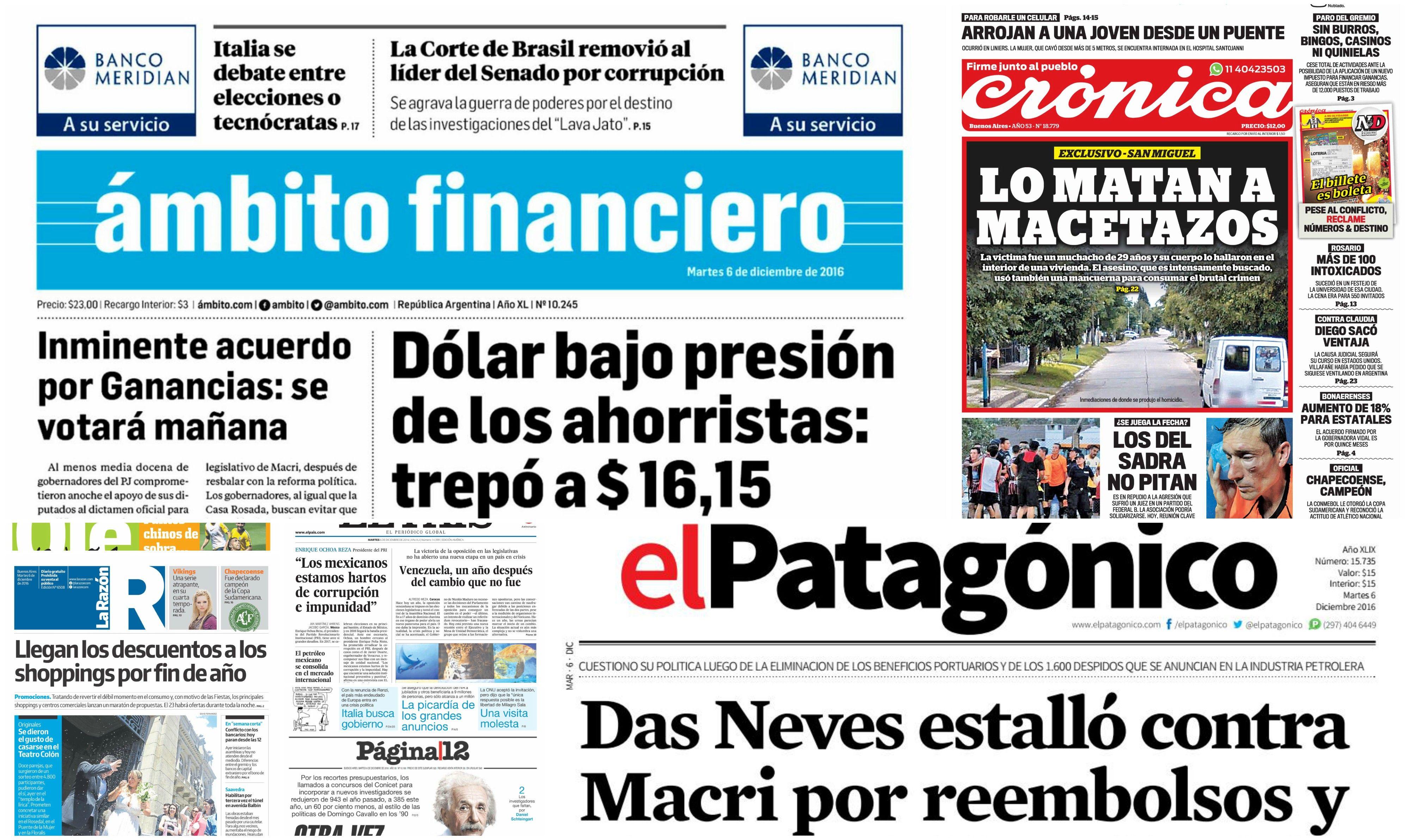Tapas de diarios del 6 de diciembre de 2016