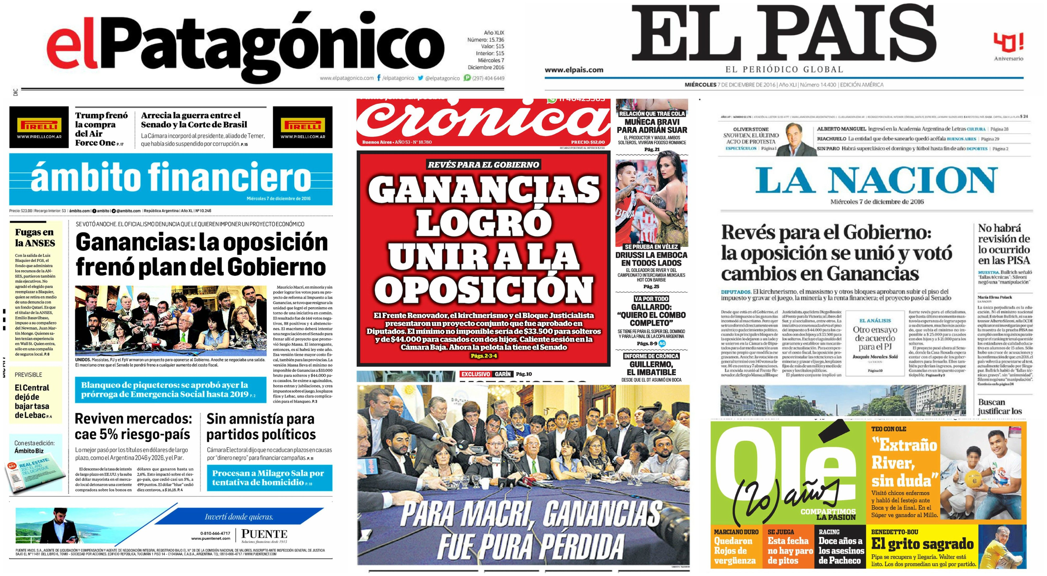 Tapas de diarios del 7 de diciembre de 2016