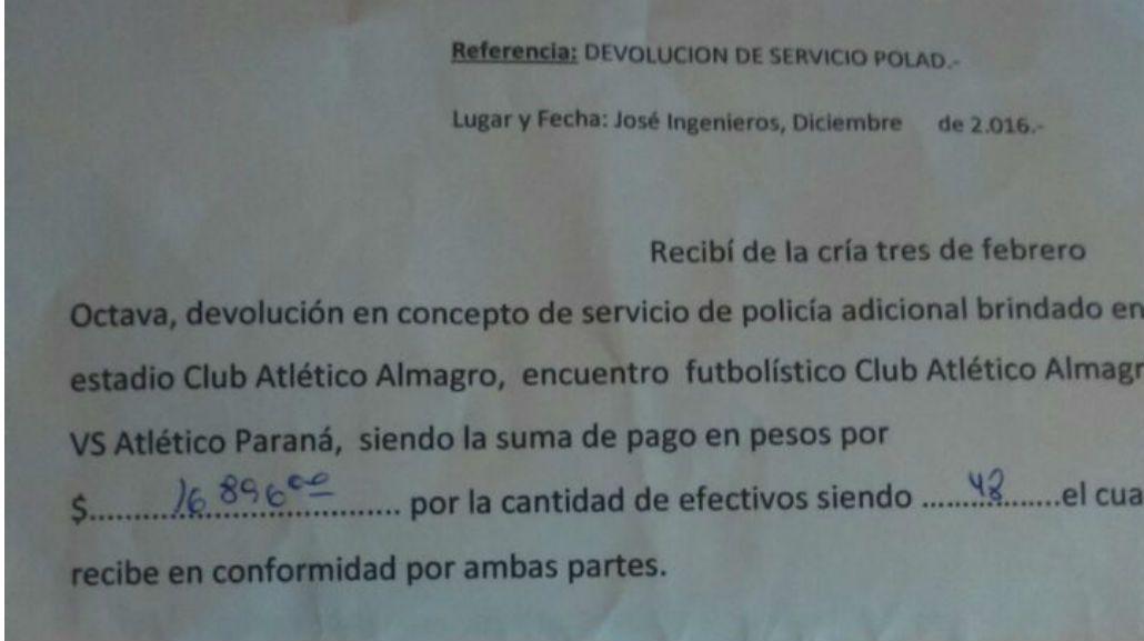 Comunicado de la policía donde devuelve el dinero del operativo en el club Almagro