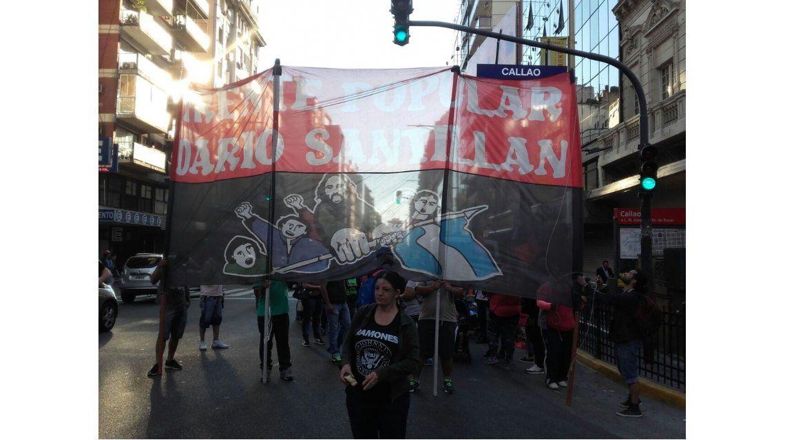 El Frente Darío Santillán protestaban en el microcentro porteño.