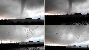 Impresionante paso del tornado en España