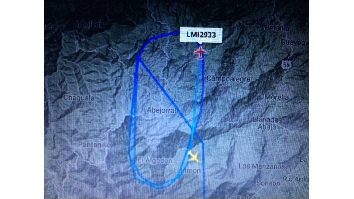 Radar con el vuelo que trasladaba al plantel del Chapecoense