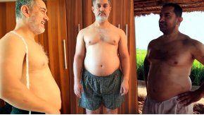 El actor Aamir Khan sorprendió con la transformación de su cuerpo.