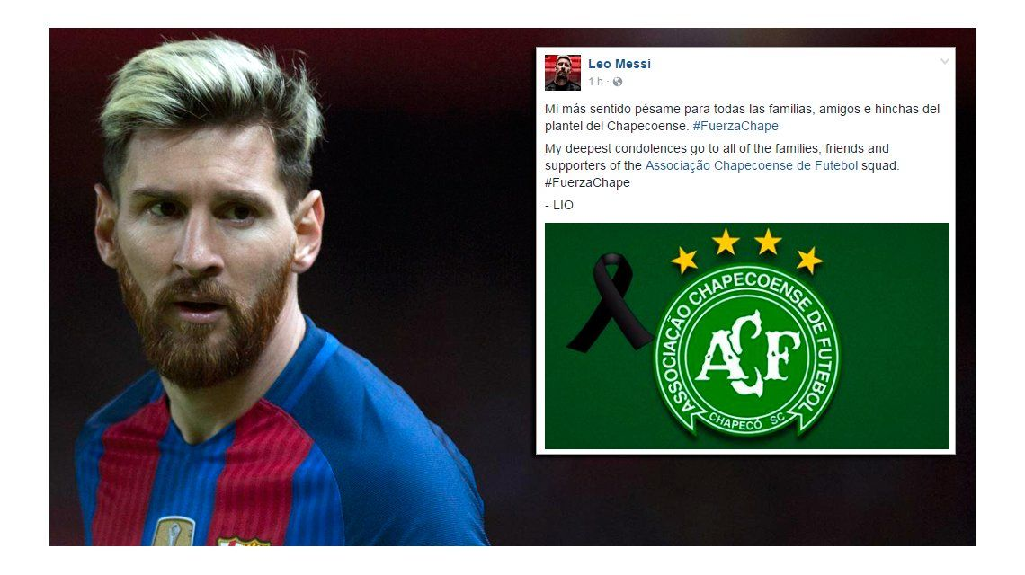 Messi manifestó su pésame por la tragedia de Chapecoense.