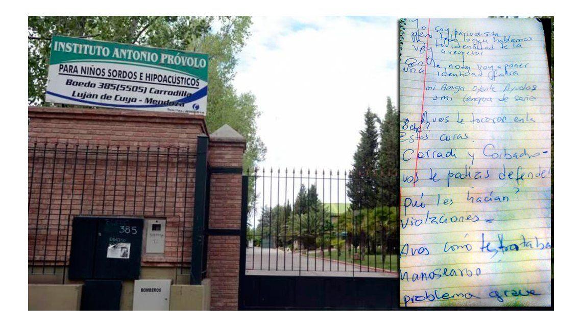Una de las víctimas contó por escrito la pesadilla que vivió en el instituto mendocino