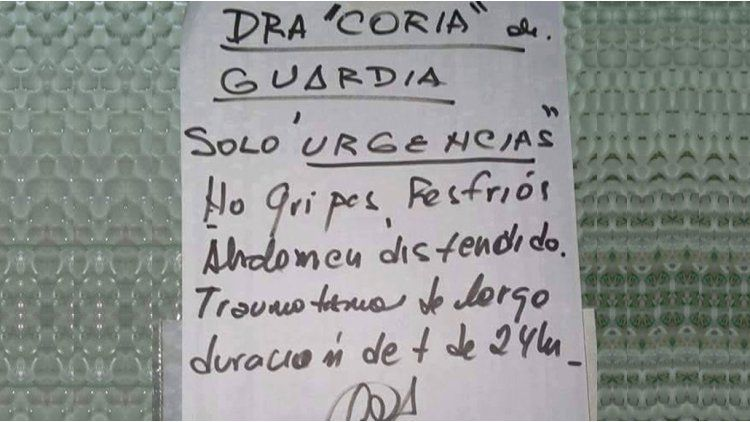 Cartel guardia médica