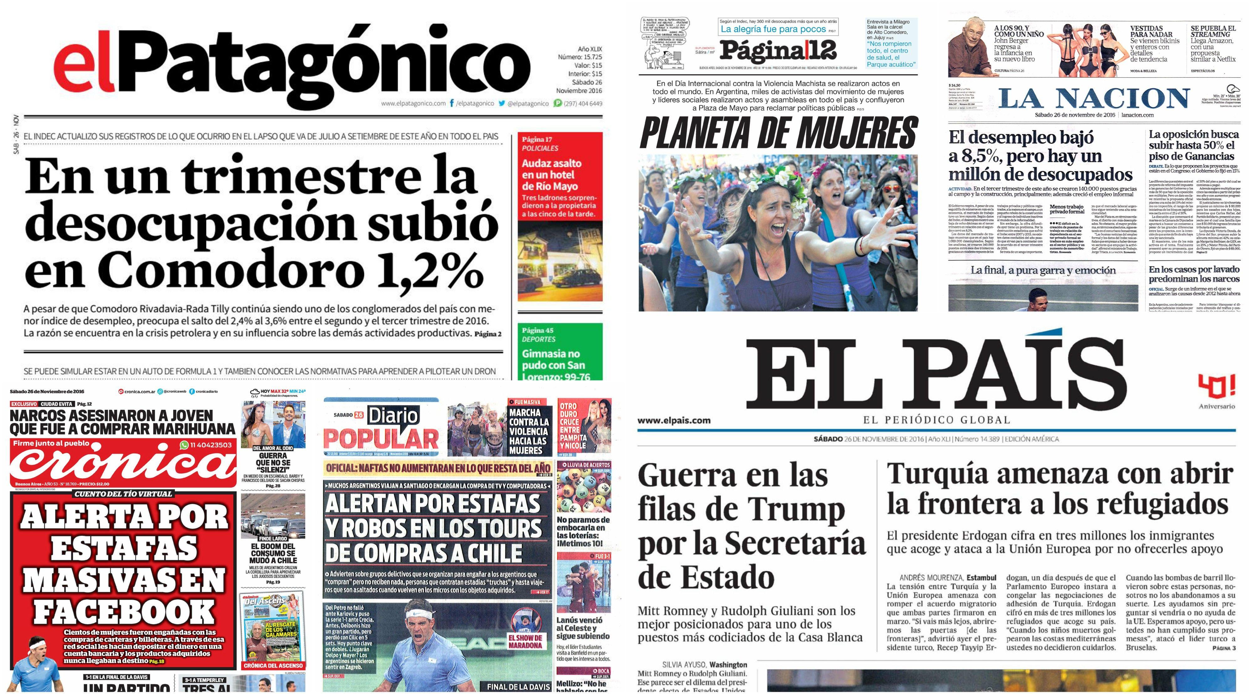 Tapas de diarios del sábado 26 de noviembre de 2016