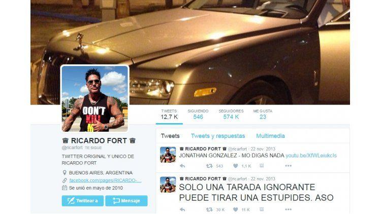 Captura de la cuenta de Twitter de Ricardo Fort