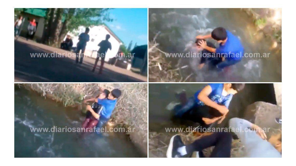 Un chico intentó ahogar a otro en un canal en medio de una brutal pelea