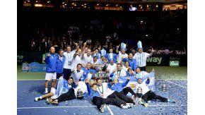 Los festejos del equipo argentino campeón de la Copa Davis