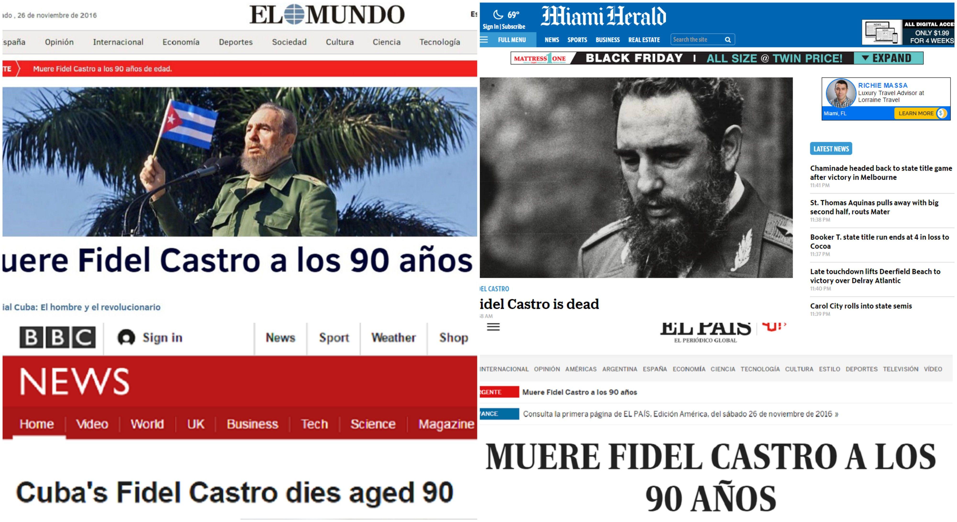 La muerte de Fidel Castro es noticia destacada de los principales portales del mundo