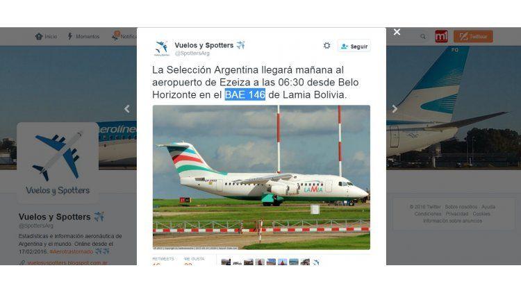 En Twitter anunciaban que la Selección argentina llegaba a Colombia en el avión de la tragedia
