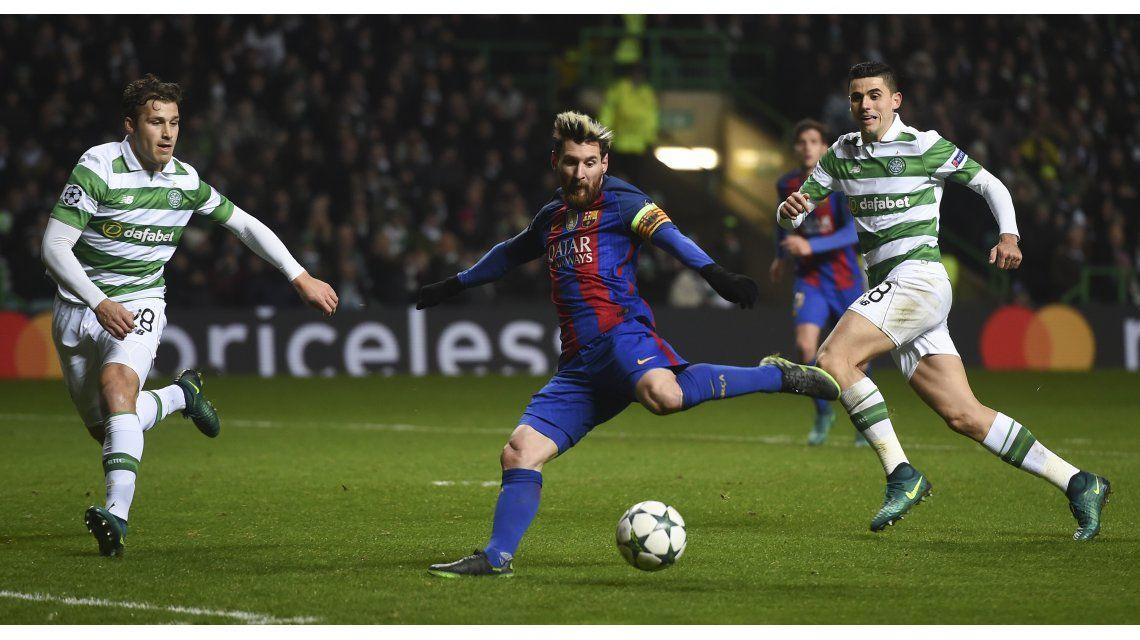 Messi anotó el primer gol del Barcelona ante Celtic en Glasgow