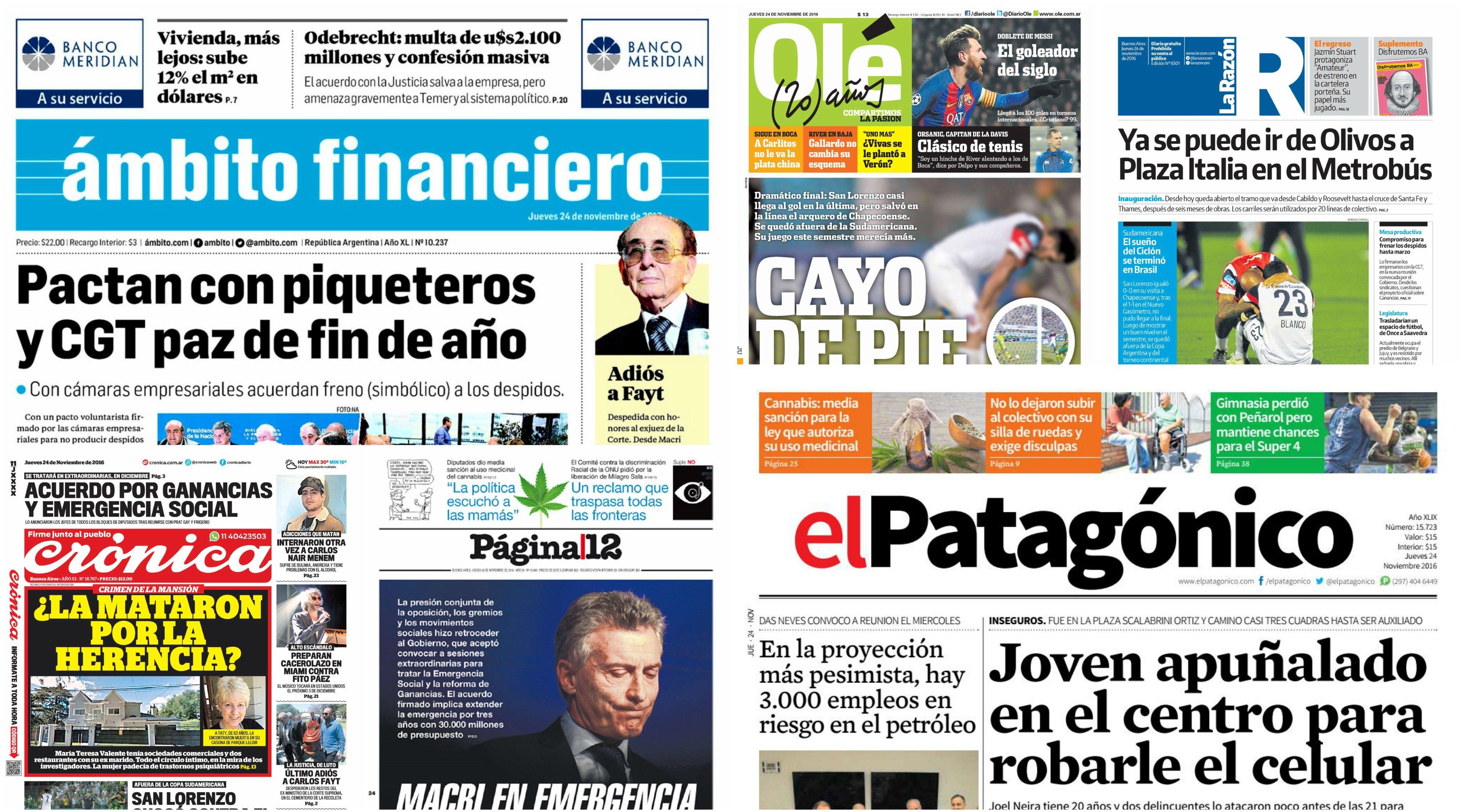 Tapas de diarios del 24 de noviembre de 2016