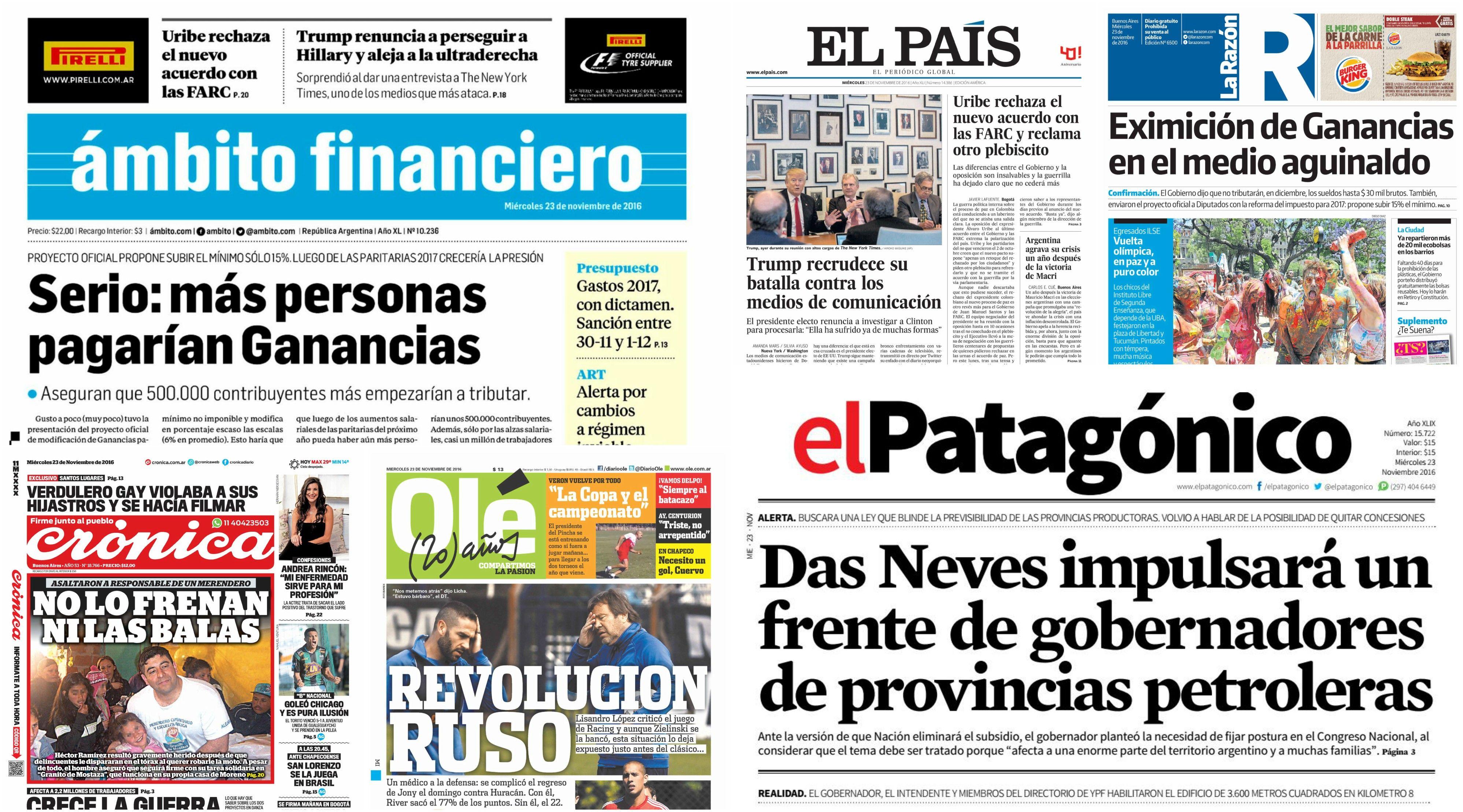 Tapas de diarios del miércoles 23 de noviembre de 2016