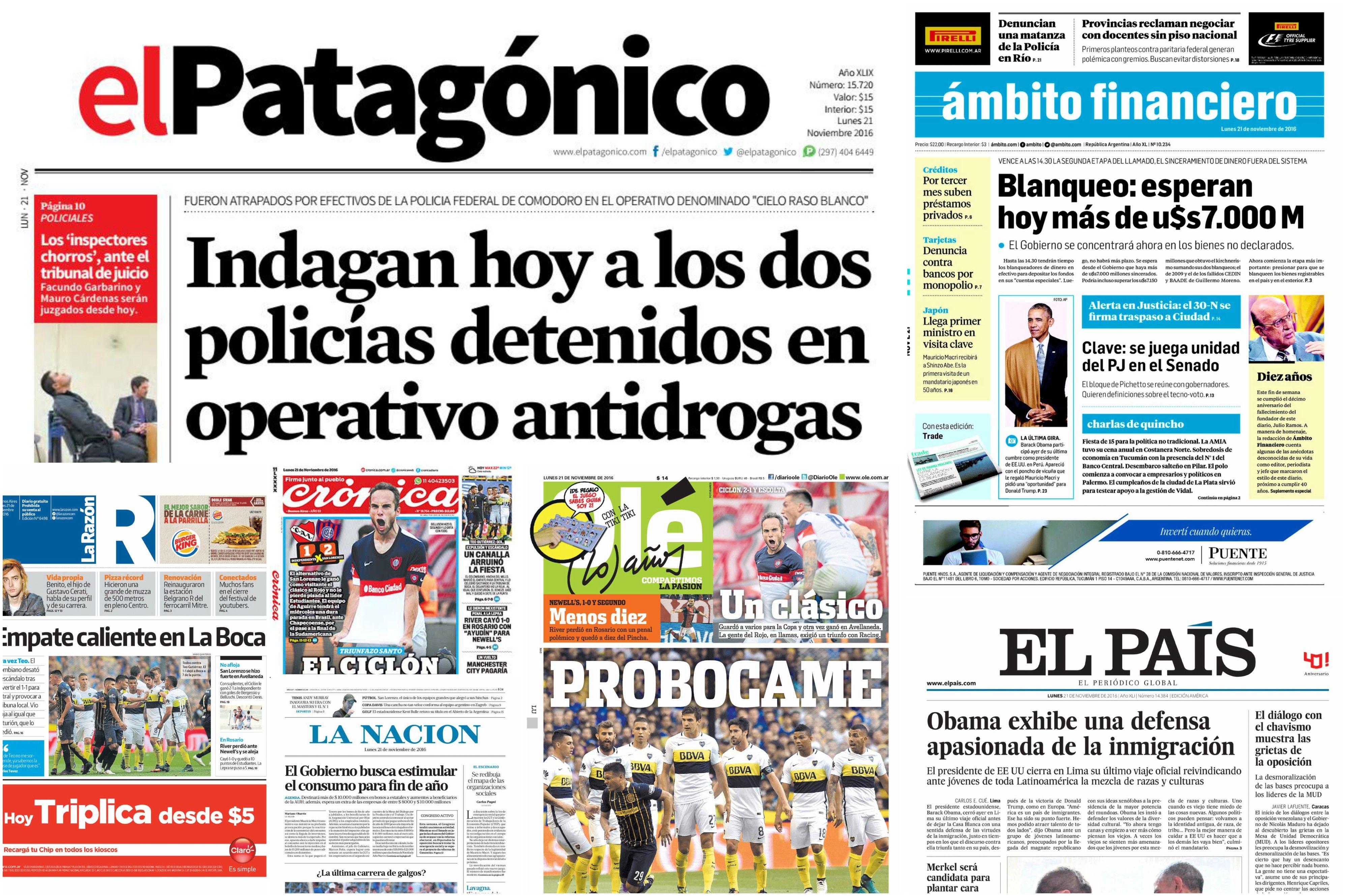 Tapas de diarios del 21 de noviembre de 2016