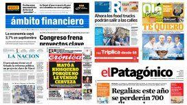 Tapas de diarios del 25 de noviembre de 2016