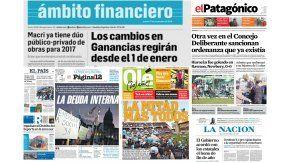 Tapas de diarios del 17 de noviembre de 2016