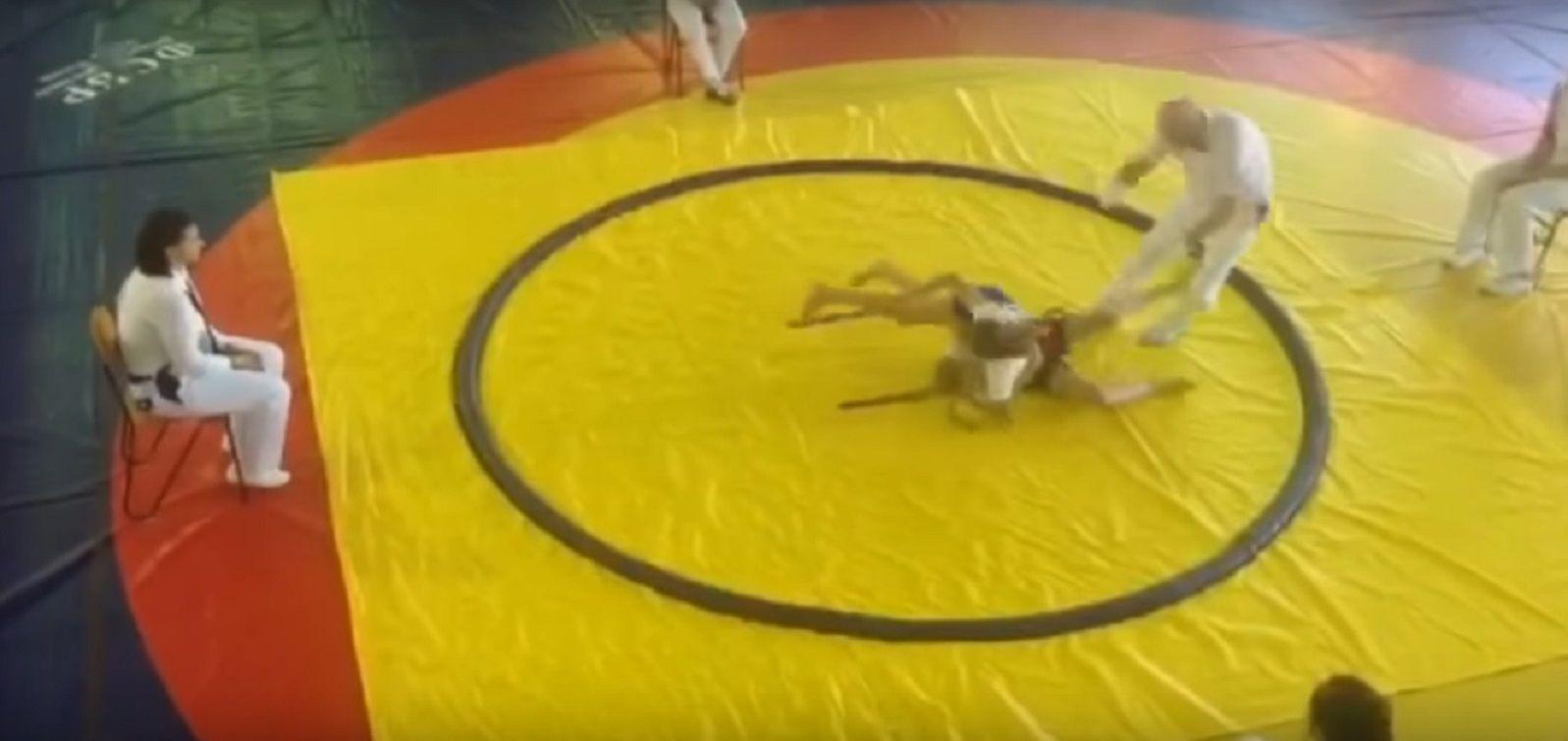 Una nena derribó a su rival de judo y también el árbitro