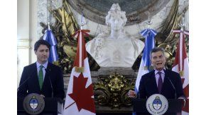 Mauricio Macri junto al primer ministro de Canadá, Justin Trudeau