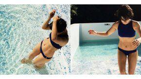 Agustina Cherri, en bikini azul.