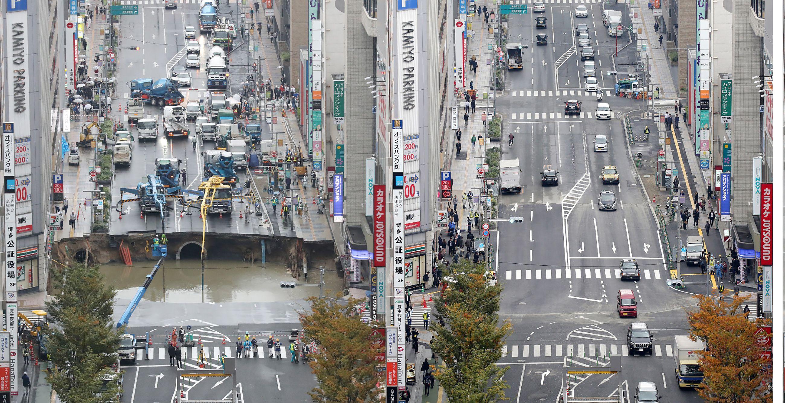 El enorme agujero que apareció en una ciudad japonesa y fue reparado en apenas 48 horas.