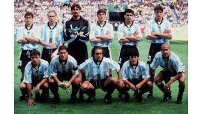Una de las formaciones habituales de la Selección argentina en Francia 98