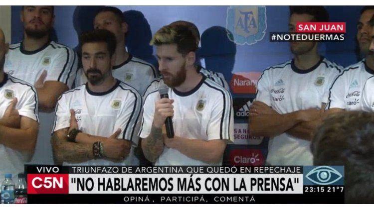 Messi anunció que no hablarán más con el periodismo enojados por las críticas y los rumores de un sector