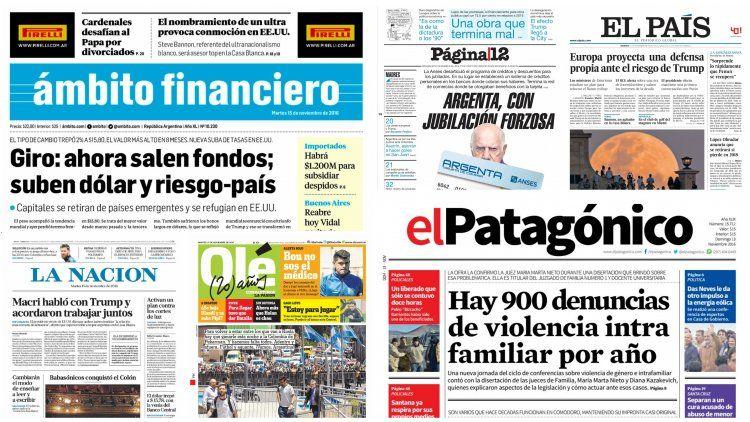 Tapas de diarios del 15 de noviembre de 2016