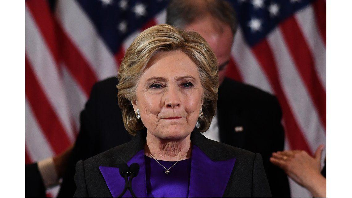 Hillary Clinton tras la derrota con Donald Trump