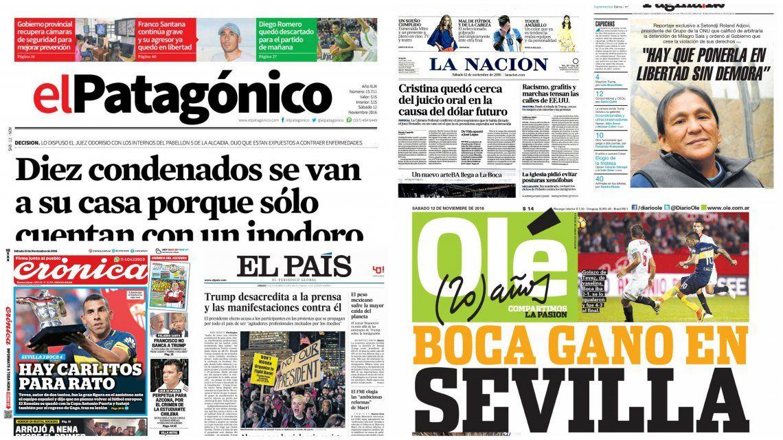 Tapas de diarios del sábado 12 de noviembre de 2016