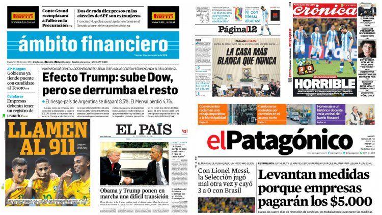 Tapas de diarios del 11 de noviembre de 2016