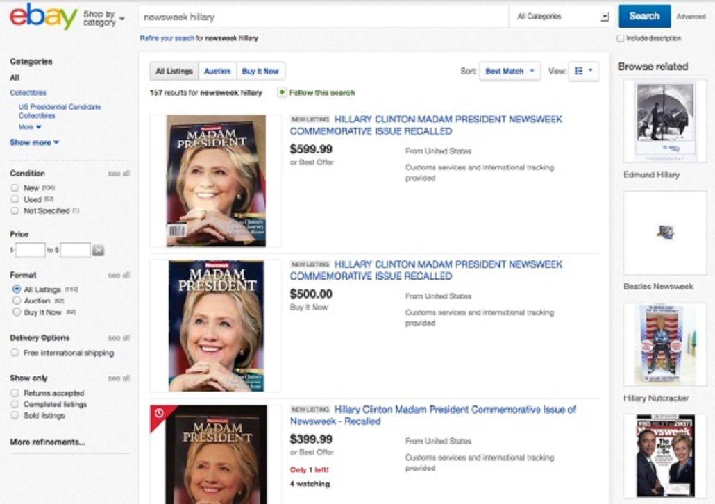La revista Newsweek de Hillary presidenta se vende en eBay