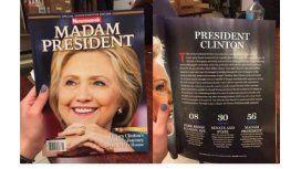 El interior de la revista Newsweek que estaba preparada con el triunfo de Hillary Clinton