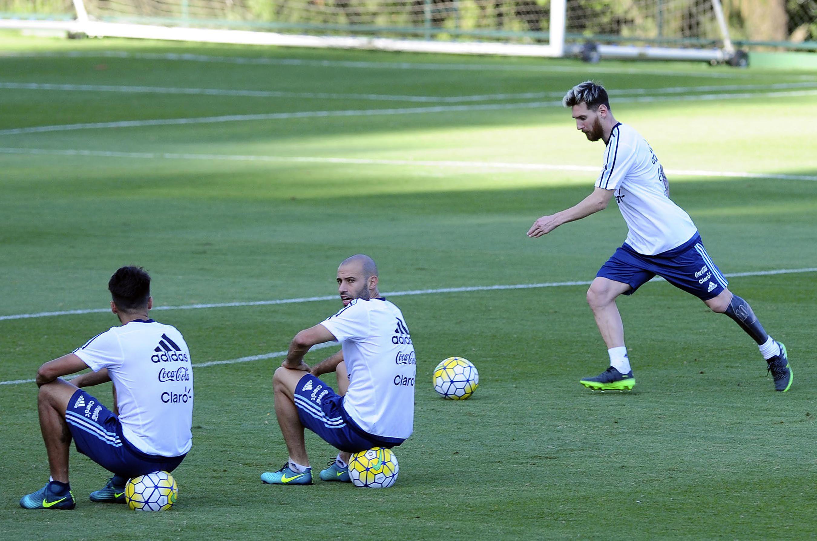 Lionel Messi entrenando con la Selección en Belo Horizonte
