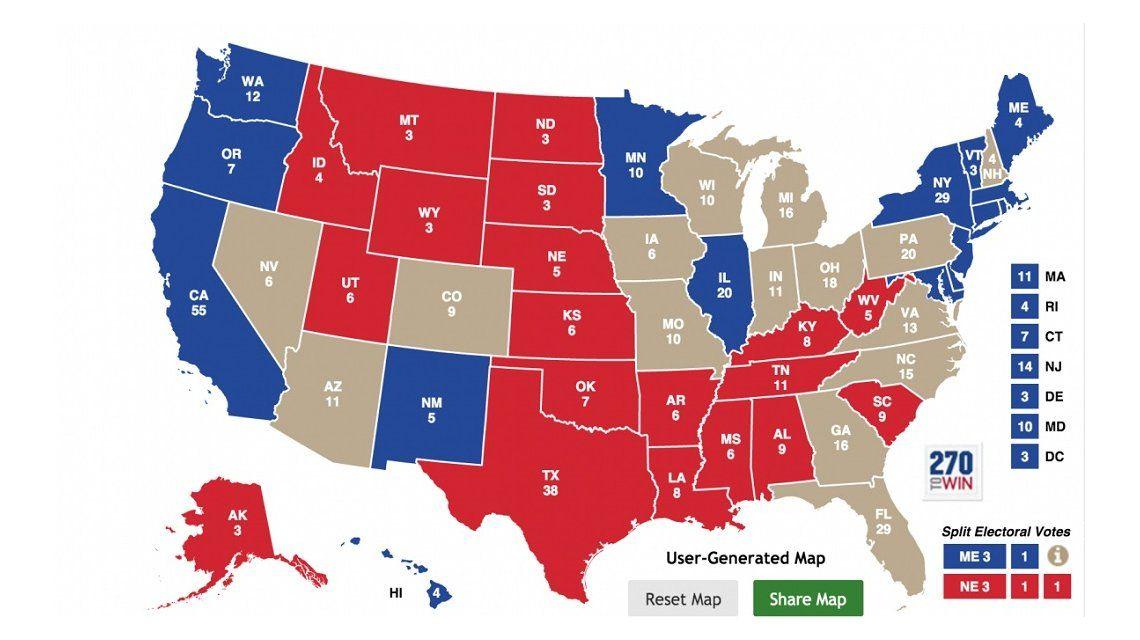 Los llamados swing states son considerados claves para la definición de las elecciones