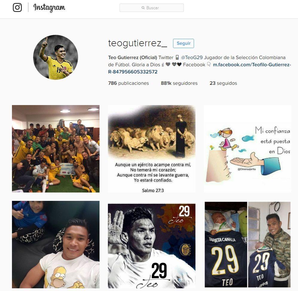 La cuenta de Instagram de Teófilo Gutiérrez