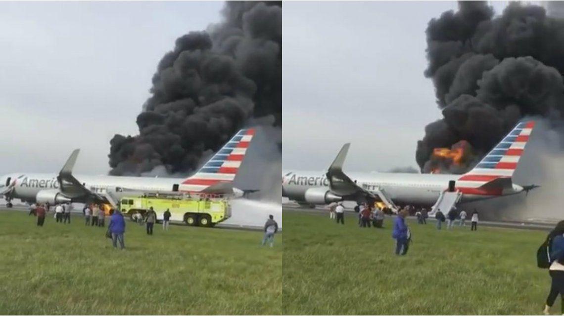 El avión se prendió fuego antes de despegar