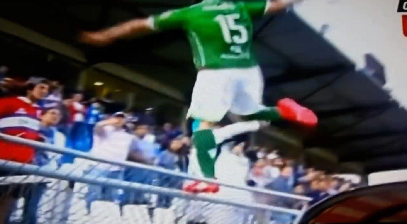 Jugador argentino Sebastián Pol patea a un hincha chileno