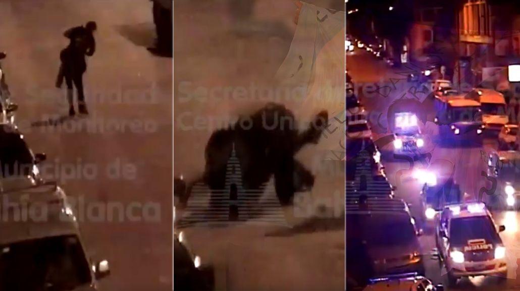 Una pelea a la salida de un boliche en Bahía Blanca fue captada por una  de las cámaras de seguridad.