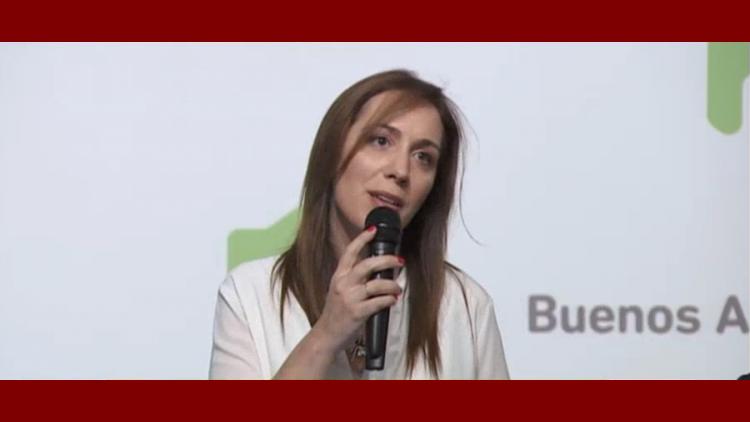 María Eugenia Vidal durante el anuncio de la reforma en La Plata