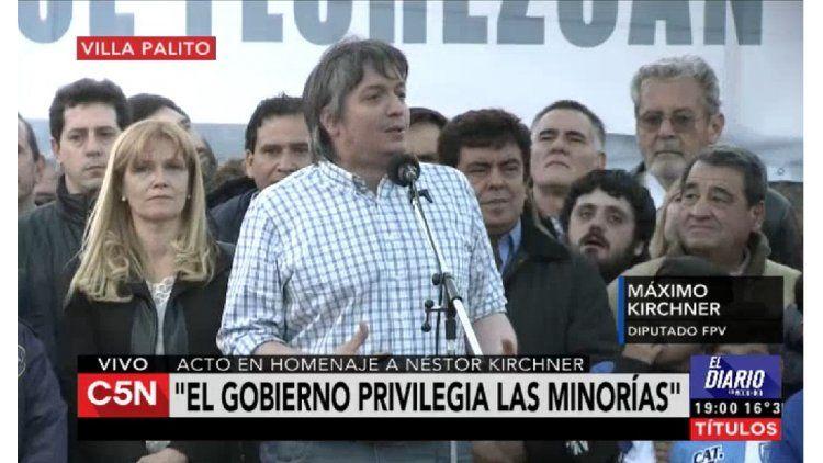 Máximo Kirchner en un acto en Villa Palito