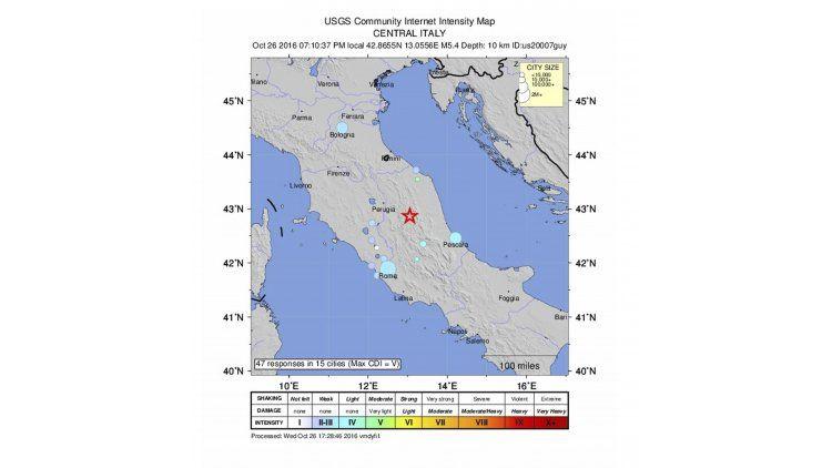 El sismo se registró en la Región de las Marcas