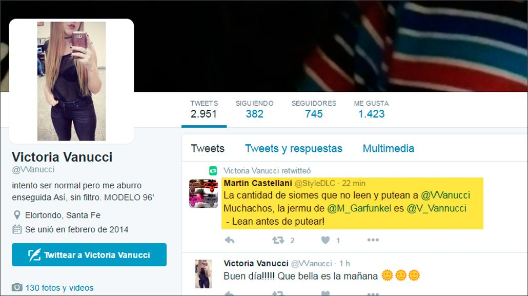 La confundieron en Twitter con Vanucci y le llueven insultos.