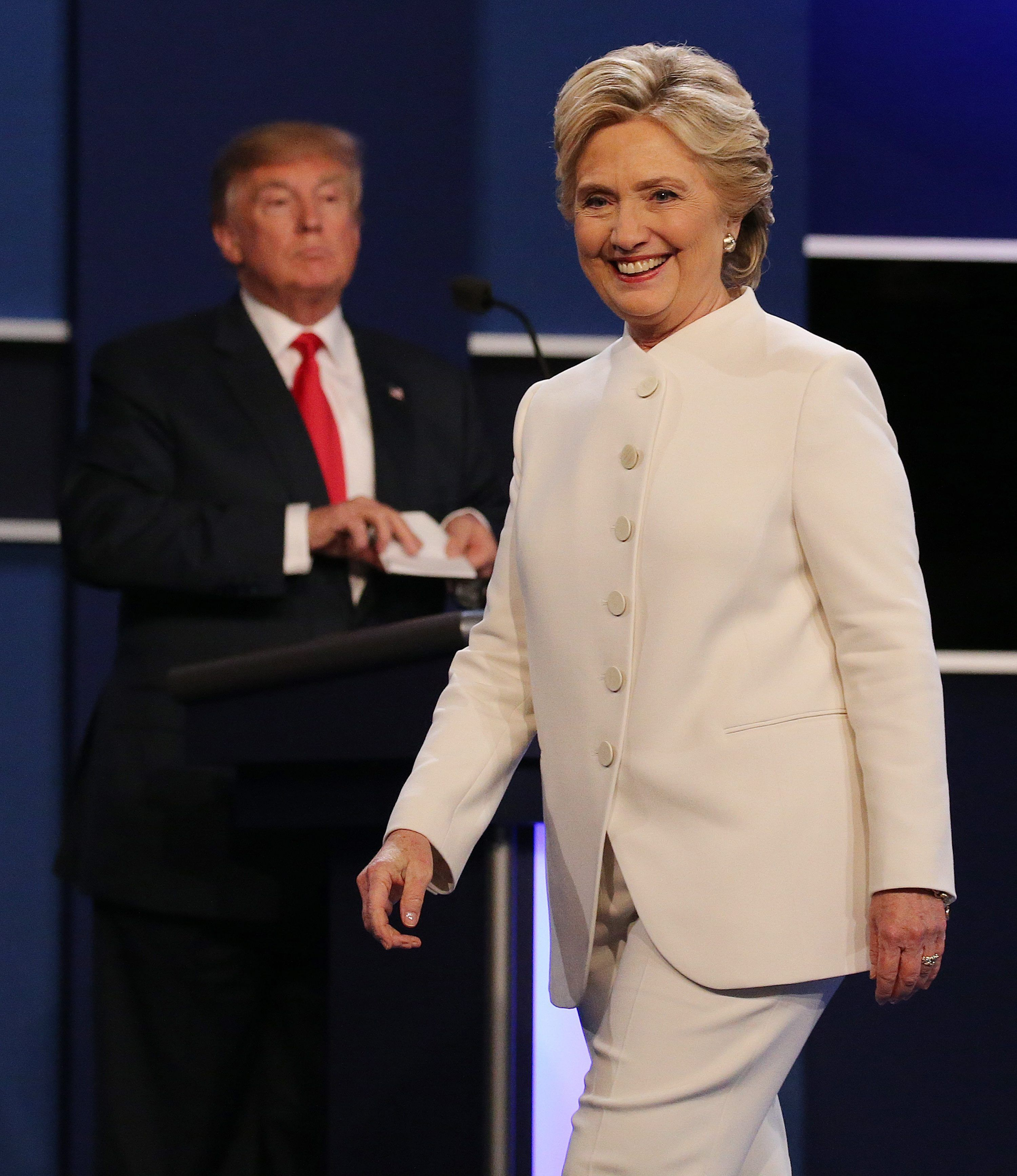 Donald Trump y Hillary Clinton en el tercer debate presidencial