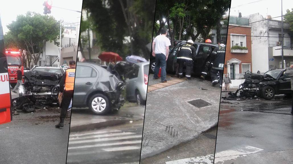 Coghlan: camioneta cruzó en rojo y chocó dos autos, un colectivo y una moto