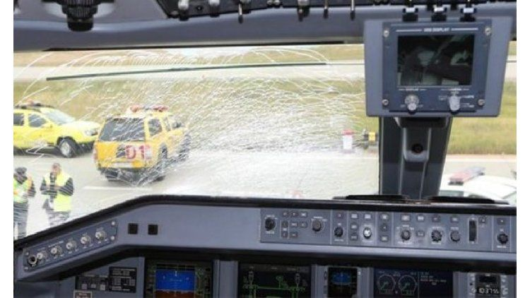Así quedó la cabina del avión tras chocar con el ave