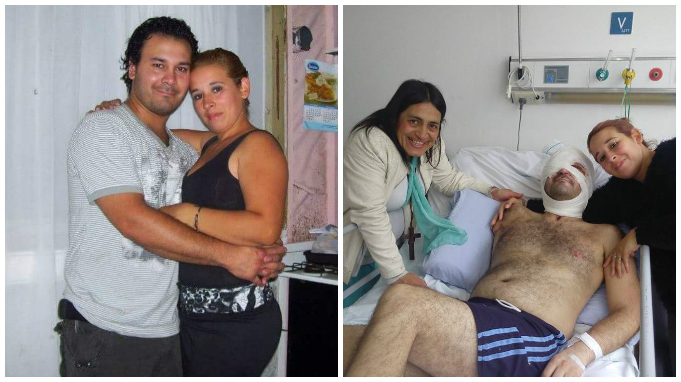 Cristian Pereyra antes del accidente con su mujer Lorena Riquelme y después en plena recuperación rodeado de sus afectos